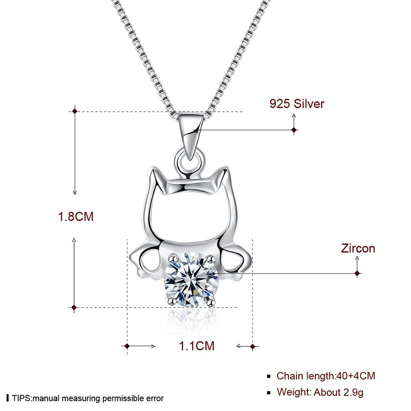 Wholesale 925 Silver Cute Cat CZ Necklace TGSSN018 4