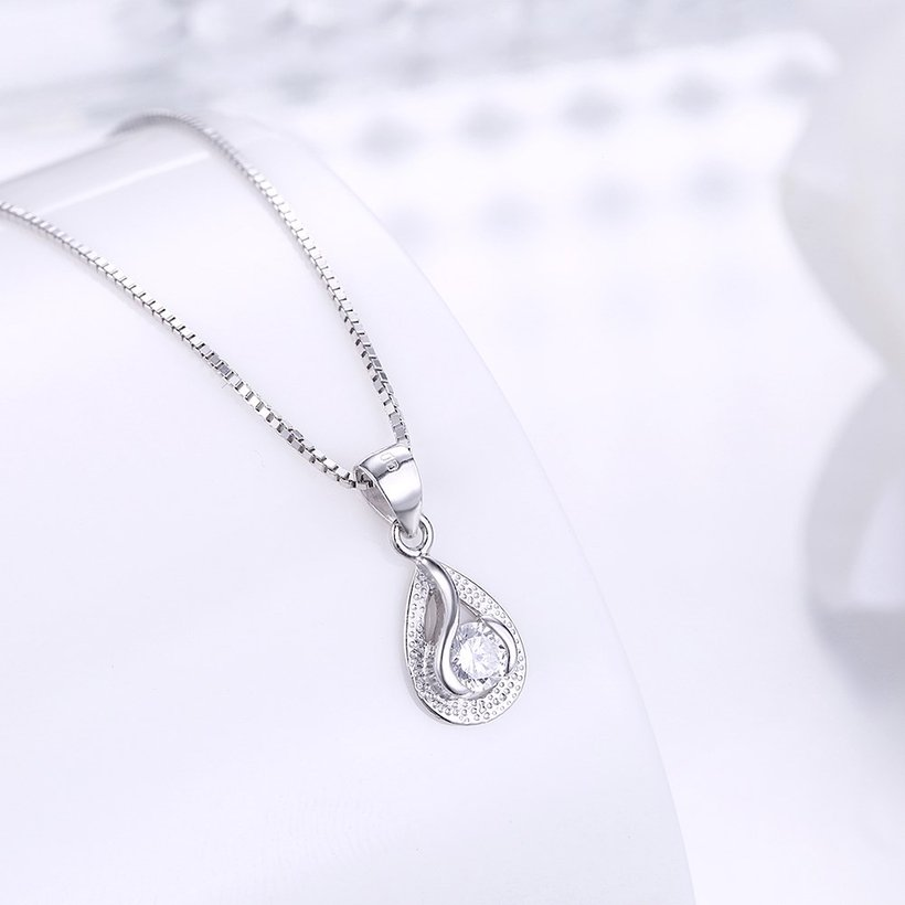 Wholesale Trendy 925 Sterling Silver Water Drop CZ Necklace TGSSN022 1