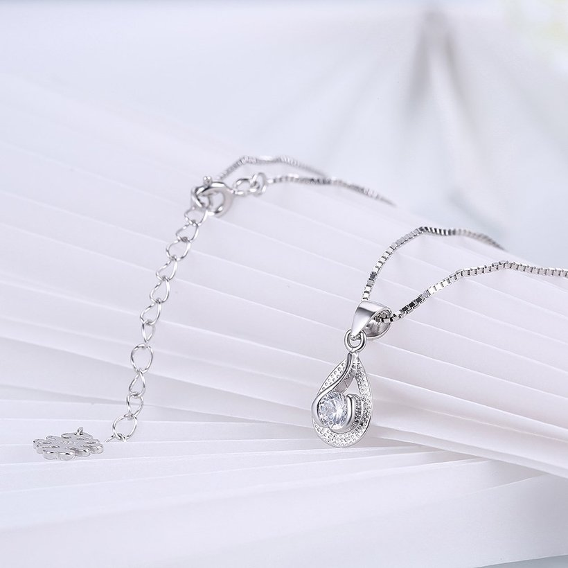 Wholesale Trendy 925 Sterling Silver Water Drop CZ Necklace TGSSN022 3