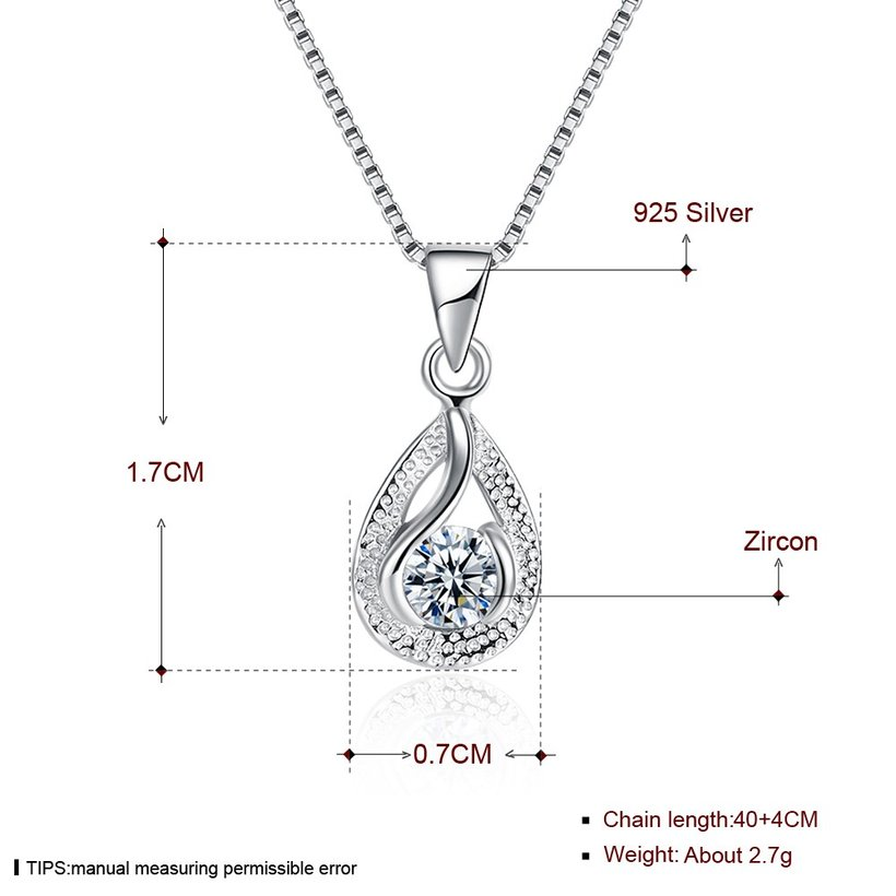 Wholesale Trendy 925 Sterling Silver Water Drop CZ Necklace TGSSN022 4