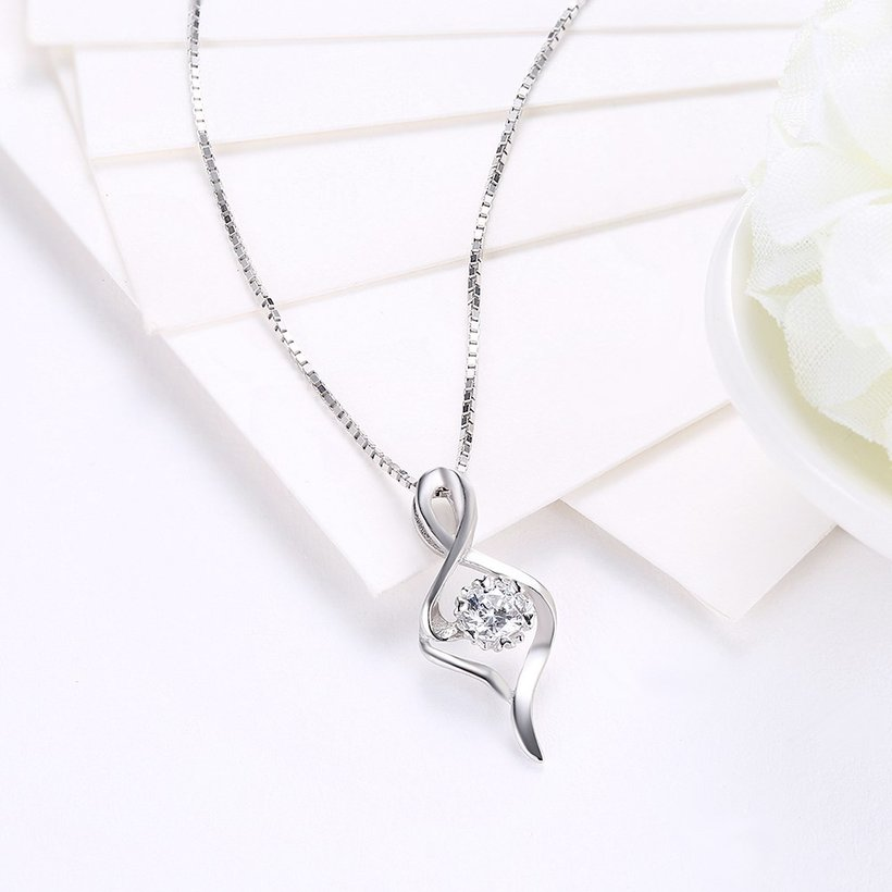 Wholesale Trendy 925 Sterling Silver CZ Necklace TGSSN030 2