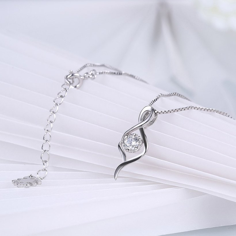 Wholesale Trendy 925 Sterling Silver CZ Necklace TGSSN030 3