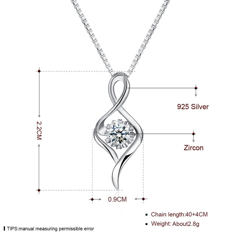 Wholesale Trendy 925 Sterling Silver CZ Necklace TGSSN030 4