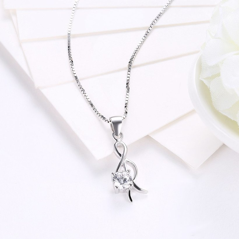 Wholesale Trendy 925 Sterling Silver CZ Necklace TGSSN034 2