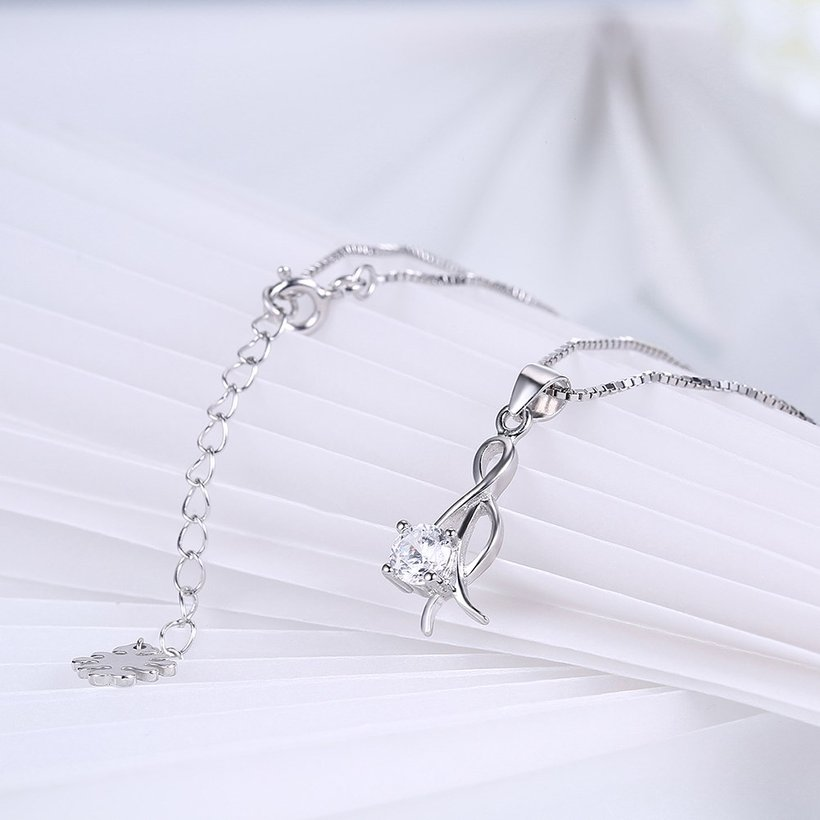 Wholesale Trendy 925 Sterling Silver CZ Necklace TGSSN034 3