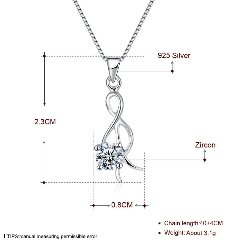 Wholesale Trendy 925 Sterling Silver CZ Necklace TGSSN034 4