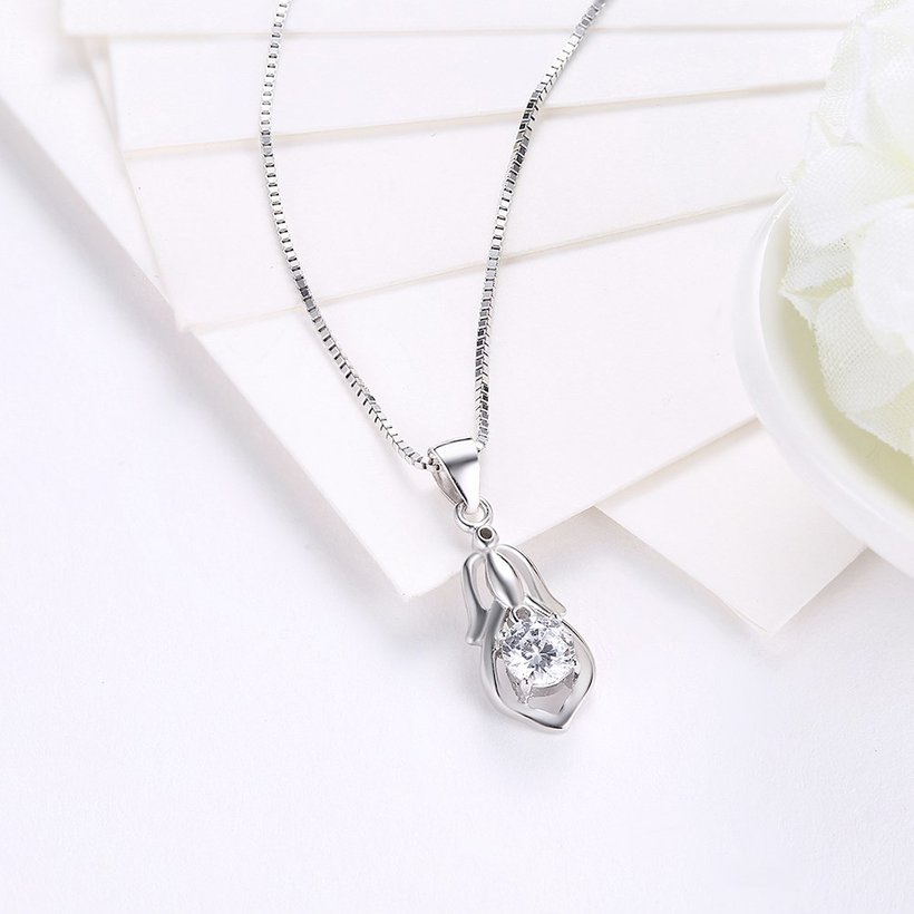 Wholesale Trendy 925 Sterling Silver CZ Necklace TGSSN044 2