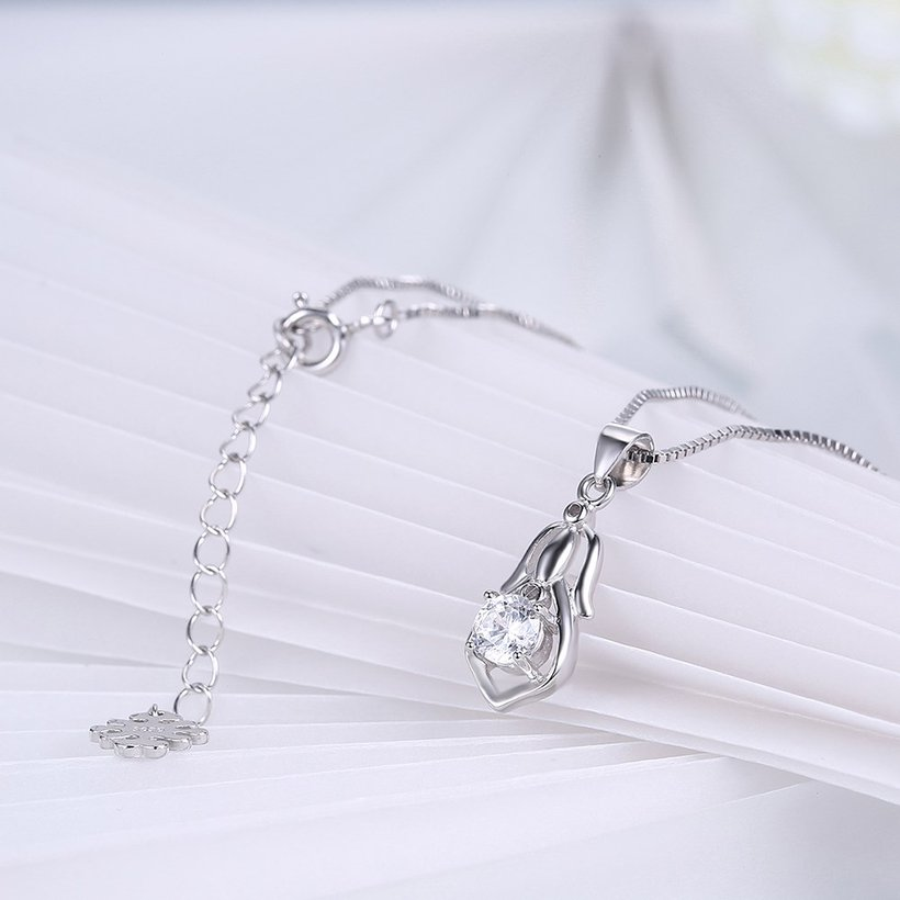Wholesale Trendy 925 Sterling Silver CZ Necklace TGSSN044 3