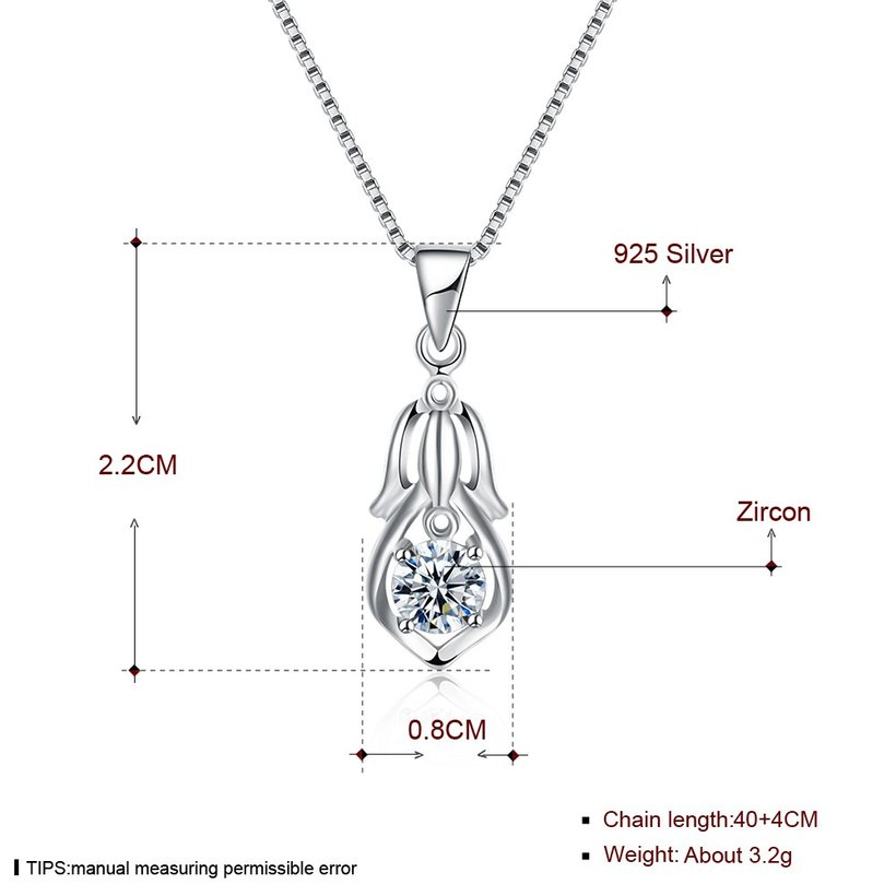 Wholesale Trendy 925 Sterling Silver CZ Necklace TGSSN044 4