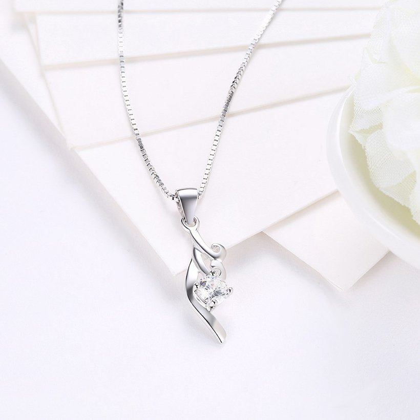 Wholesale Fashion 925 Sterling Silver CZ Necklace TGSSN045 2