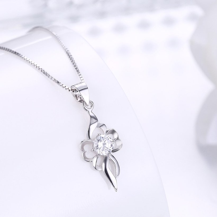 Wholesale Trendy 925 Sterling Silver CZ Necklace TGSSN047 1