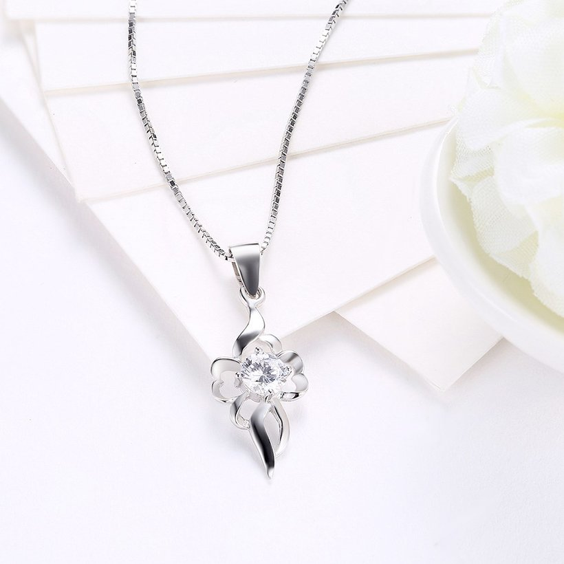 Wholesale Trendy 925 Sterling Silver CZ Necklace TGSSN047 2