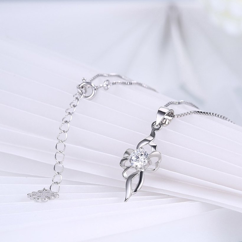 Wholesale Trendy 925 Sterling Silver CZ Necklace TGSSN047 3