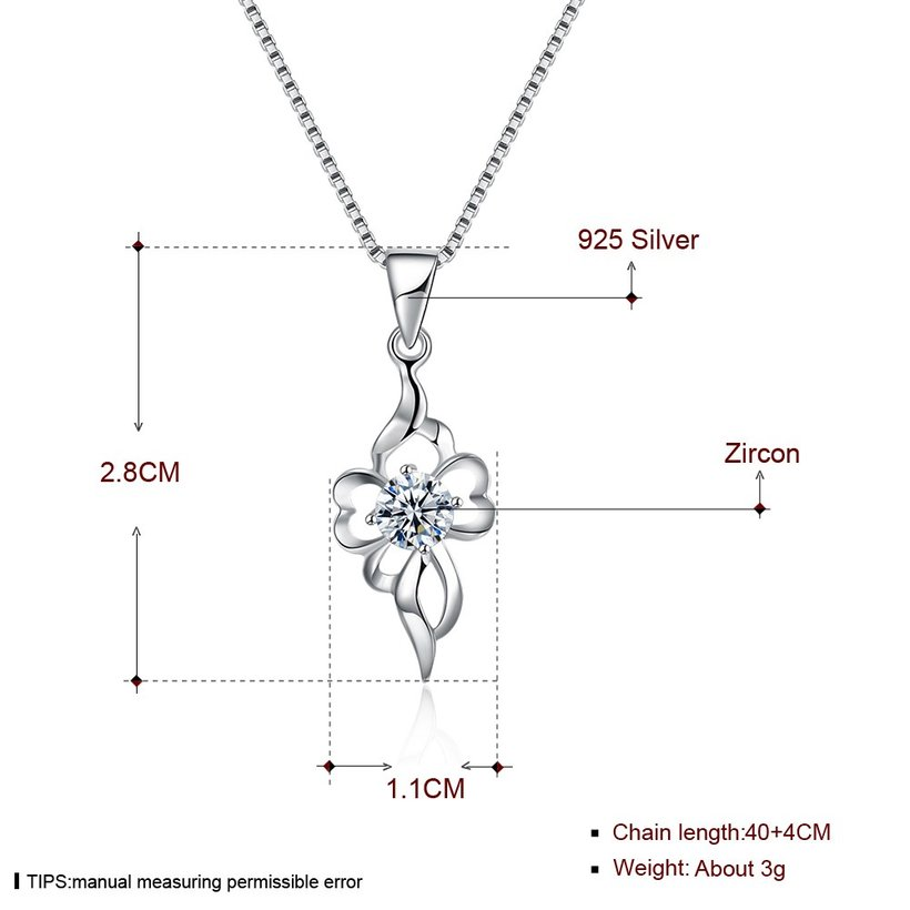 Wholesale Trendy 925 Sterling Silver CZ Necklace TGSSN047 4