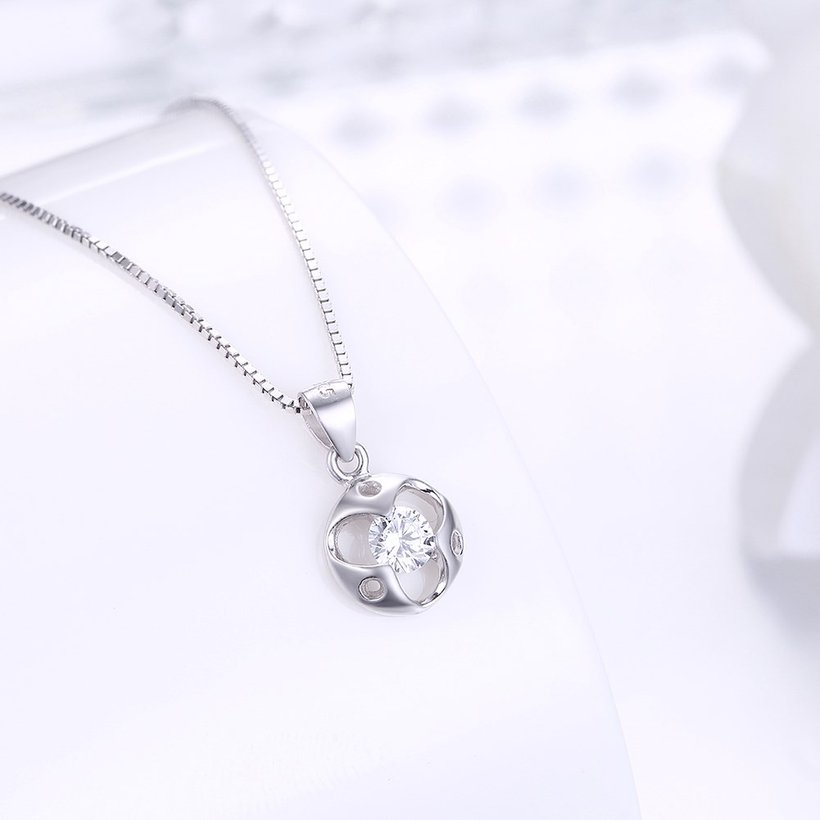 Wholesale Trendy 925 Sterling Silver Round CZ Necklace TGSSN048 1