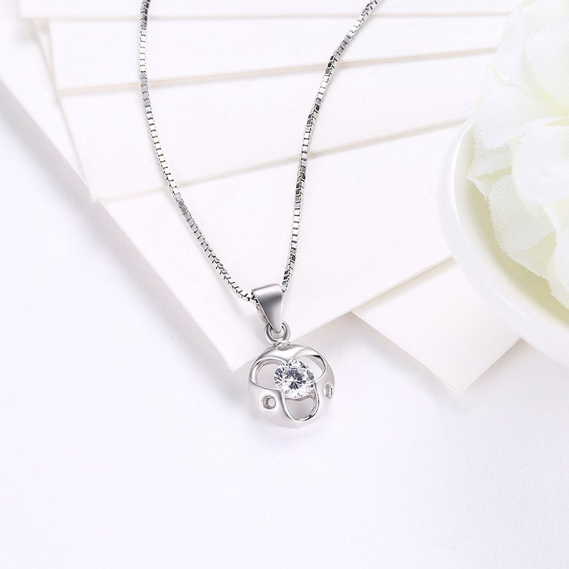 Wholesale Trendy 925 Sterling Silver Round CZ Necklace TGSSN048 2