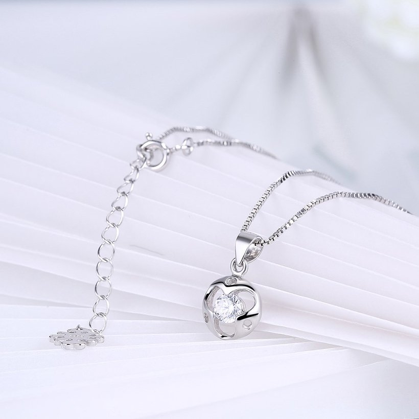 Wholesale Trendy 925 Sterling Silver Round CZ Necklace TGSSN048 3