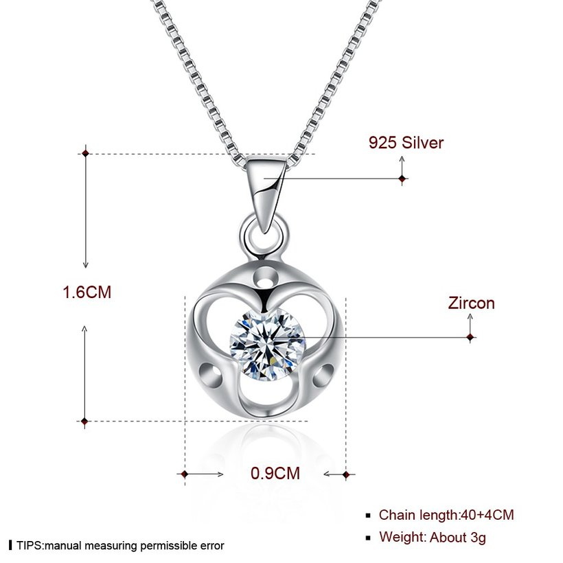 Wholesale Trendy 925 Sterling Silver Round CZ Necklace TGSSN048 4