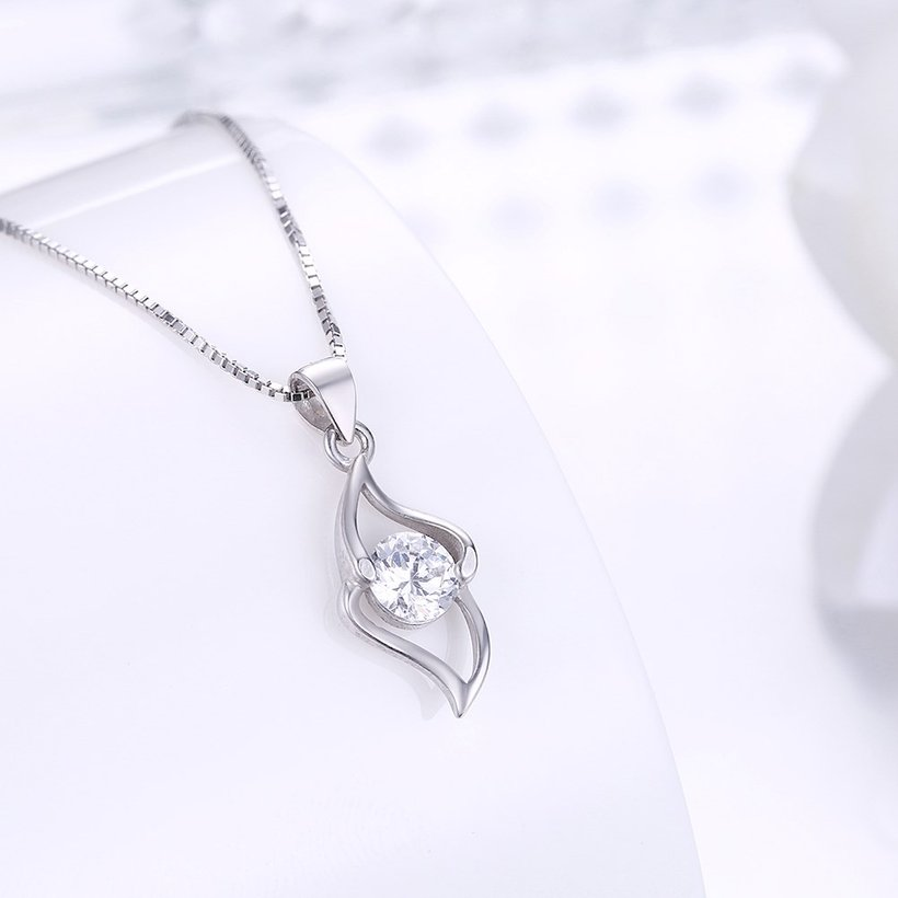 Wholesale Trendy 925 Sterling Silver Geometric CZ Necklace TGSSN050 1