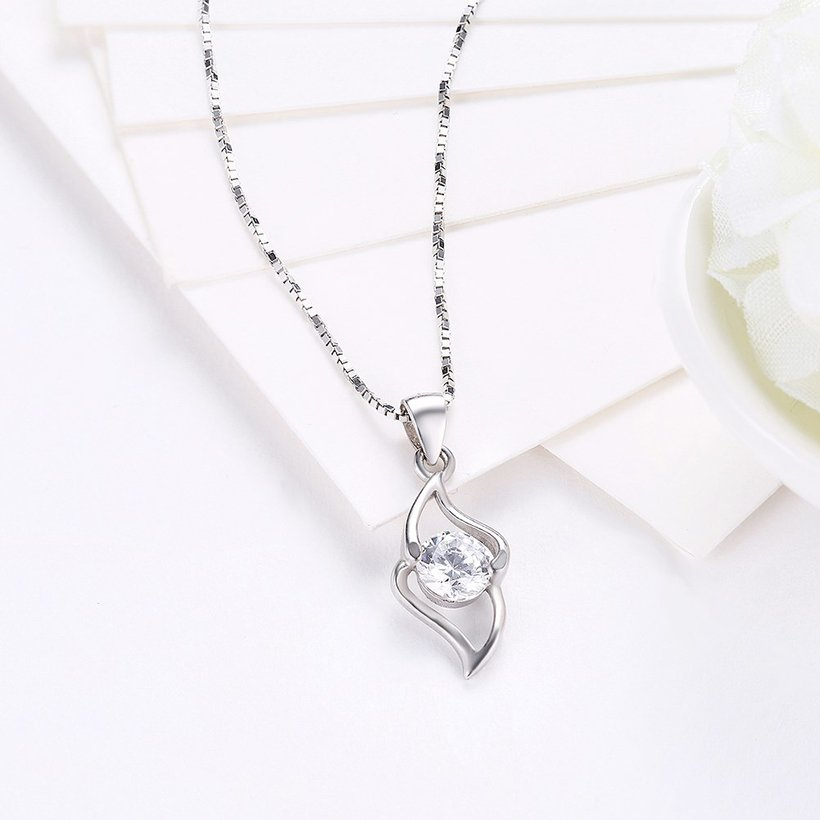 Wholesale Trendy 925 Sterling Silver Geometric CZ Necklace TGSSN050 2