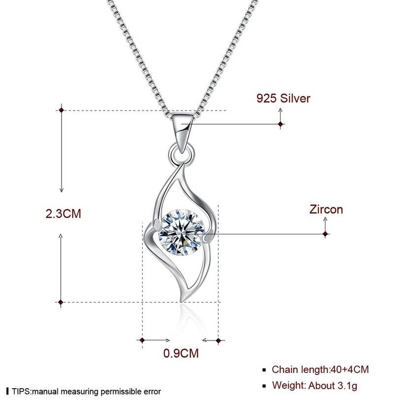 Wholesale Trendy 925 Sterling Silver Geometric CZ Necklace TGSSN050 4