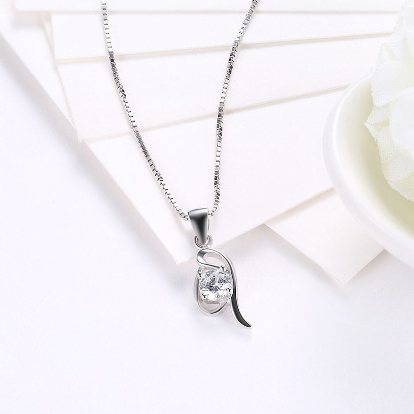 Wholesale Fashion 925 Sterling Silver Geometric CZ Necklace TGSSN055 2