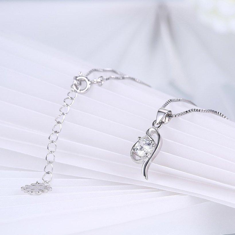 Wholesale Fashion 925 Sterling Silver Geometric CZ Necklace TGSSN055 3
