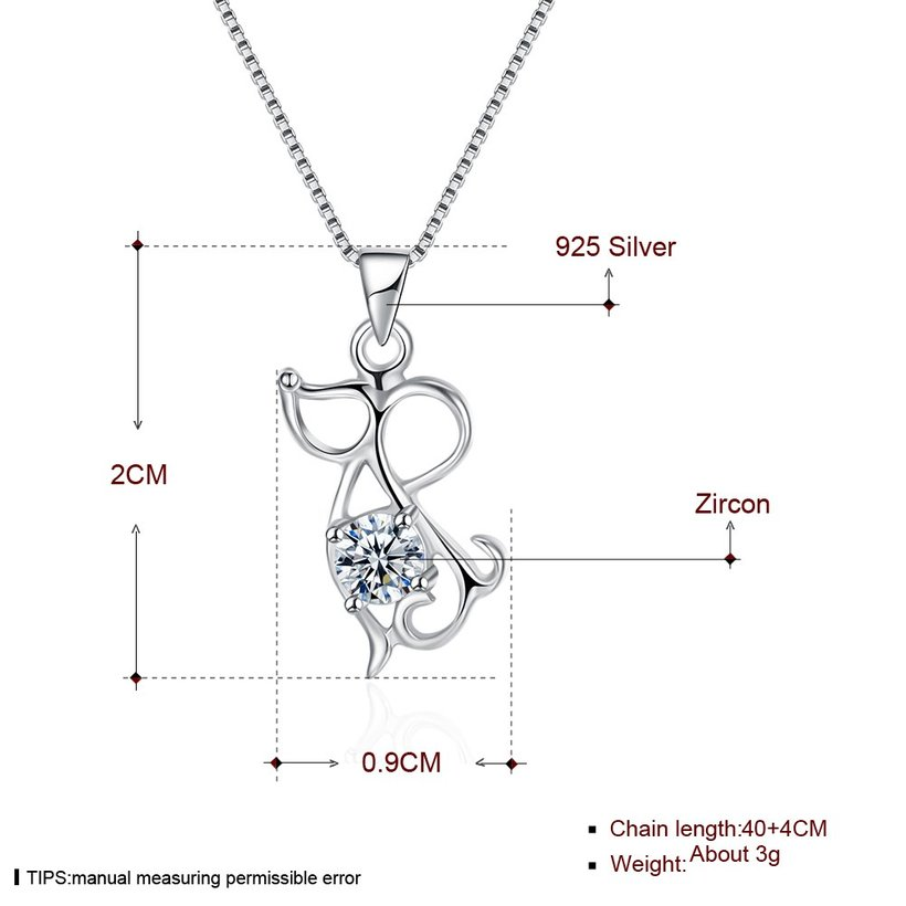 Wholesale Fashion 925 Sterling Silver Animal CZ Necklace TGSSN056 4