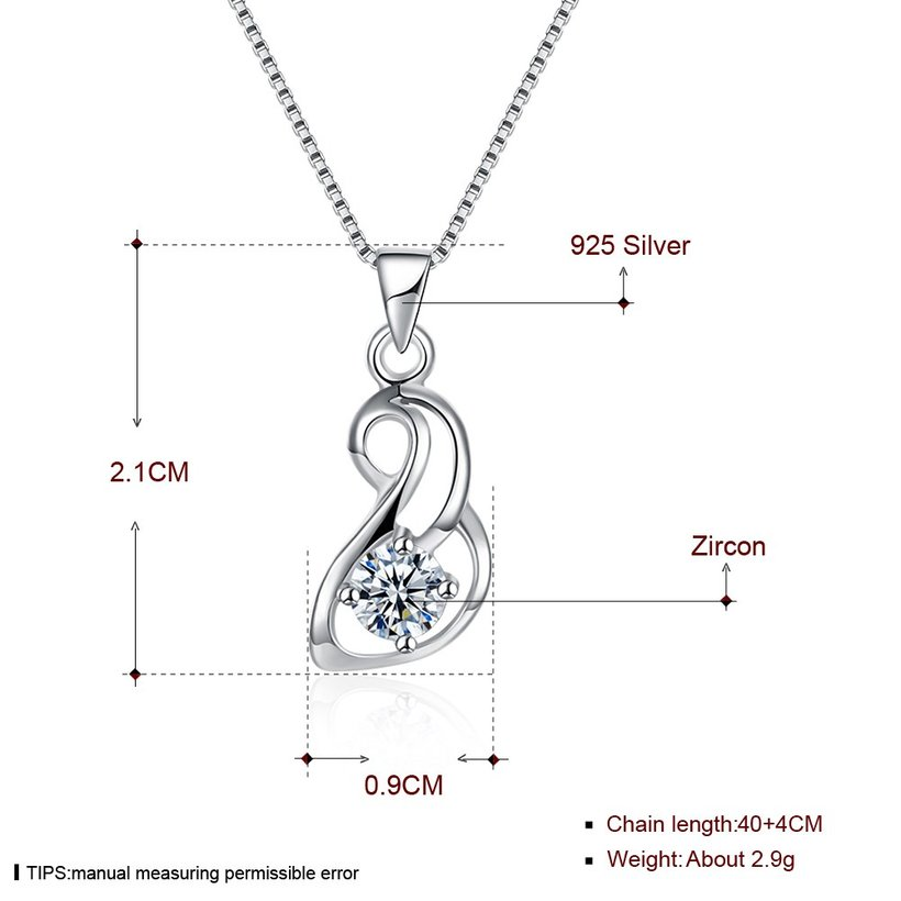 Wholesale Trendy 925 Sterling Silver Geometric CZ Necklace TGSSN058 4