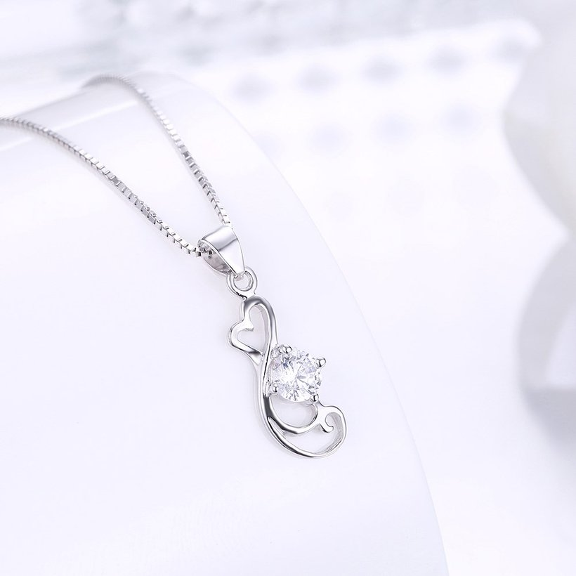 Wholesale Trendy 925 Sterling Silver Geometric CZ Necklace TGSSN059 1