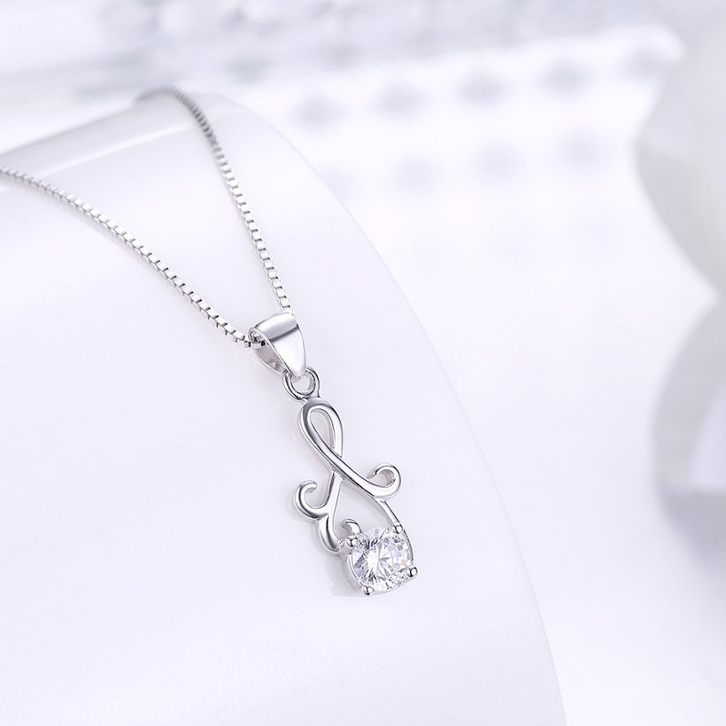 Wholesale Fashion 925 Sterling Silver Geometric CZ Necklac TGSSN061 1