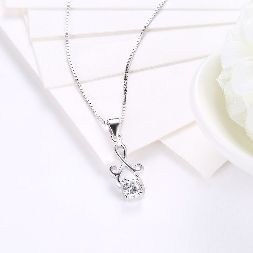 Wholesale Fashion 925 Sterling Silver Geometric CZ Necklac TGSSN061 2