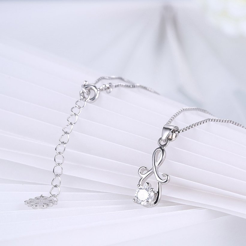Wholesale Fashion 925 Sterling Silver Geometric CZ Necklac TGSSN061 3
