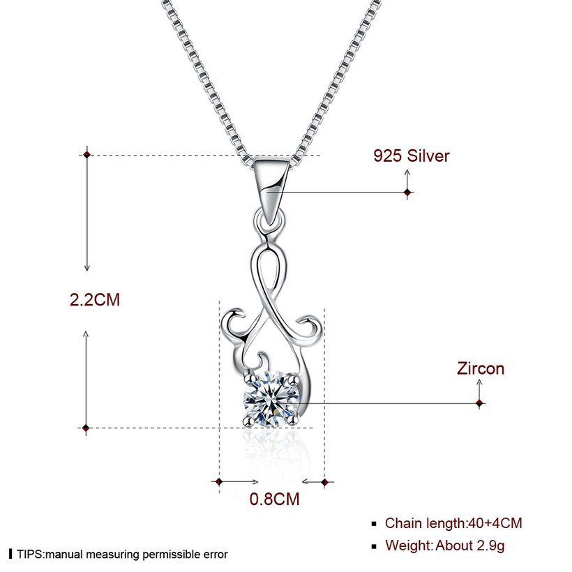 Wholesale Fashion 925 Sterling Silver Geometric CZ Necklac TGSSN061 4