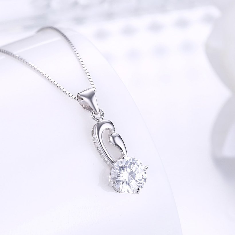 Wholesale Fashion 925 Sterling Silver Geometric CZ Necklace TGSSN063 1