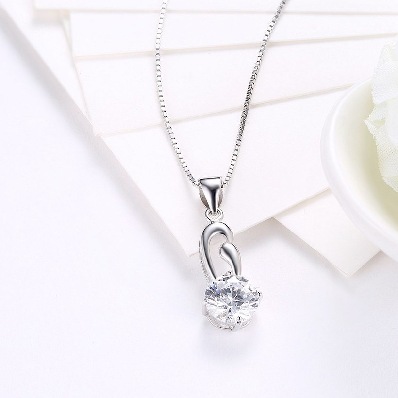 Wholesale Fashion 925 Sterling Silver Geometric CZ Necklace TGSSN063 2