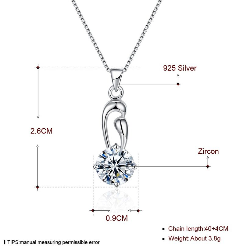 Wholesale Fashion 925 Sterling Silver Geometric CZ Necklace TGSSN063 4