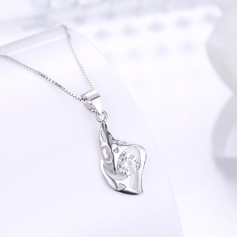 Wholesale Trendy 925 Sterling Silver CZ Necklace Free Shipping TGSSN064 1