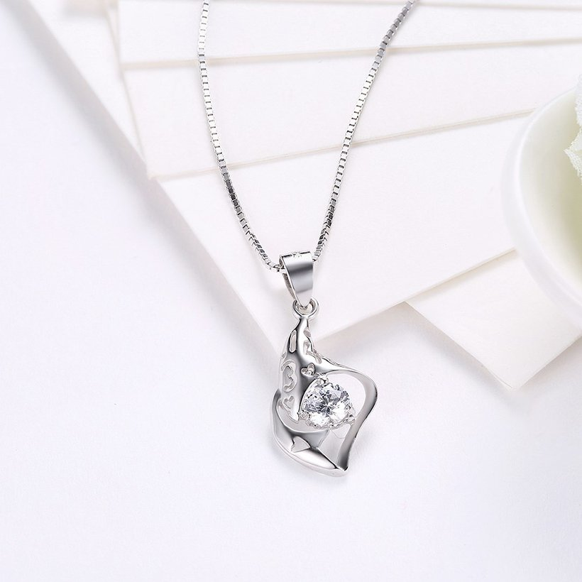 Wholesale Trendy 925 Sterling Silver CZ Necklace Free Shipping TGSSN064 2