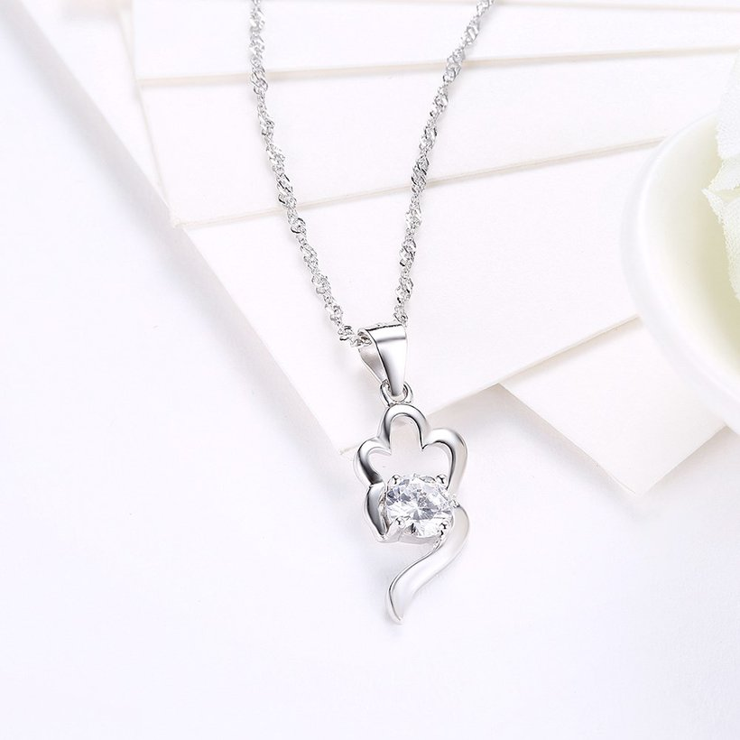 Wholesale Trendy 925 Sterling Silver CZ Necklace TGSSN066 2
