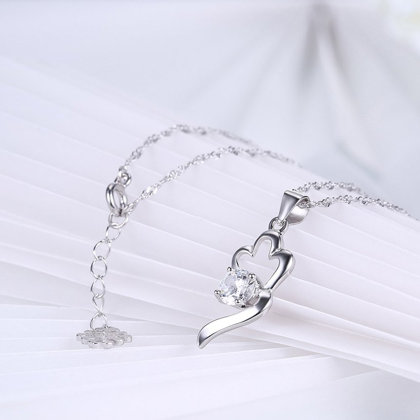 Wholesale Trendy 925 Sterling Silver CZ Necklace TGSSN066 3