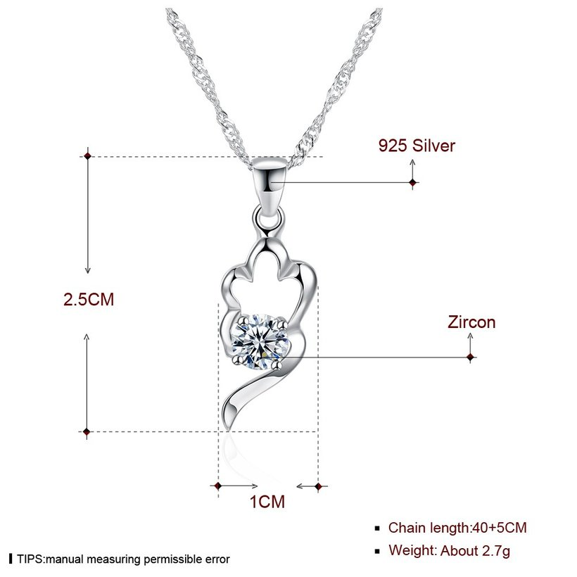 Wholesale Trendy 925 Sterling Silver CZ Necklace TGSSN066 4