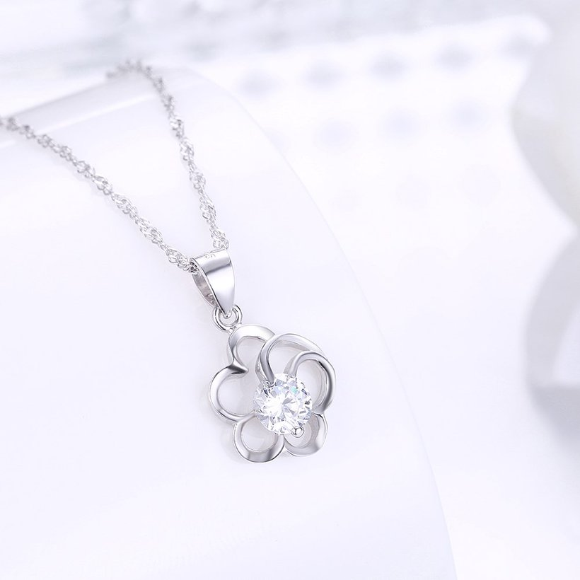 Wholesale 2018 Style 925 Sterling Silver Flower CZ Necklace TGSSN077 1