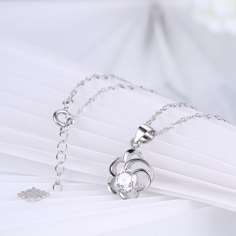 Wholesale 2018 Style 925 Sterling Silver Flower CZ Necklace TGSSN077 3