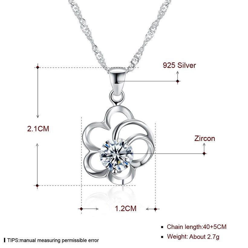 Wholesale 2018 Style 925 Sterling Silver Flower CZ Necklace TGSSN077 4