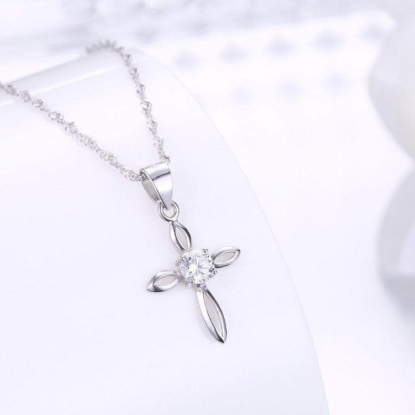 Wholesale Fashion 925 Sterling Silver Cross CZ Necklace TGSSN078 1