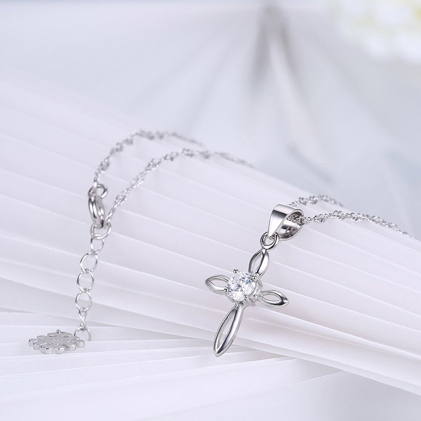 Wholesale Fashion 925 Sterling Silver Cross CZ Necklace TGSSN078 3
