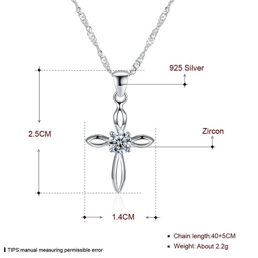 Wholesale Fashion 925 Sterling Silver Cross CZ Necklace TGSSN078 4
