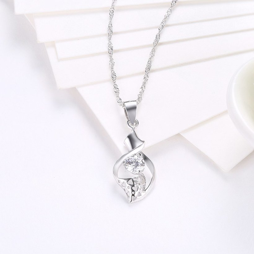 Wholesale New Fashion 925 Sterling Silver CZ Necklace TGSSN079 2
