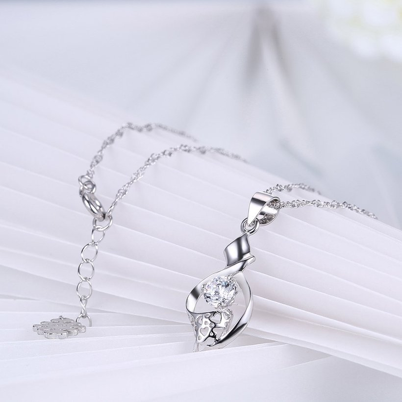 Wholesale New Fashion 925 Sterling Silver CZ Necklace TGSSN079 3